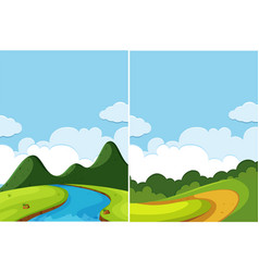 Two scenes of river and road at day time vector