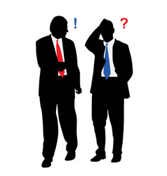 Two stressed worried businessmen with problems vector