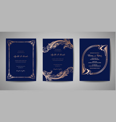 Vintage wedding save the date invitation cards vector