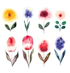 Watercolor cartoon flowers set vector