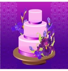 Wedding cake with purple iris flower design vector
