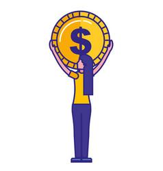 woman backview holding big coin dollar vector image