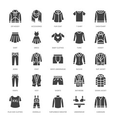 Clothing fasion flat glyph icons mens womens vector