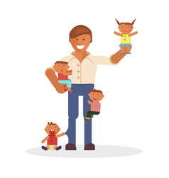 dad and children vector image