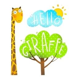 Fun Cartoon African Giraffe Animal with lettering vector image vector image