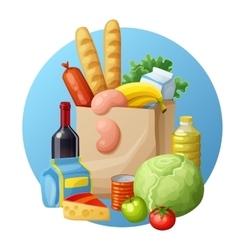 Grocery bag Cartoon Bread vector image