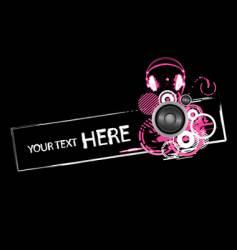 grunge headphones design vector image vector image