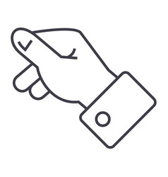 keeping hand line icon sign vector image vector image