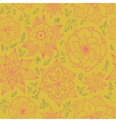 seamless floral pattern with hand-drawn flowers vector image vector image