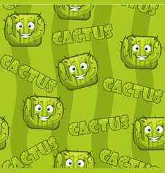 seamless pattern with square smiley cactus vector image vector image