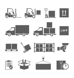 Warehouse transportation and delivery icons set vector image vector image