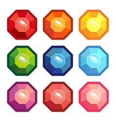 a set of gemstones in the shape of an octagon vector image vector image
