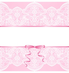 lace background and ribbon vector image vector image