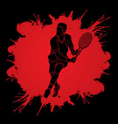 man tennis player running sport man action vector image