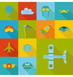 Airplane Party set - Flat Icons Design vector image