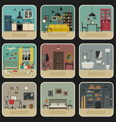 set of interior rooms vector image vector image