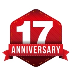 Seventeen year anniversary badge with red ribbon vector image vector image