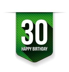 Thirty years happy birthday ribbon vector