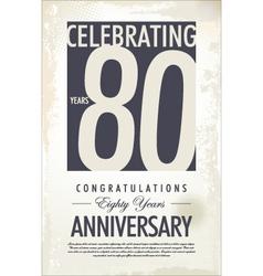 80 years anniversary retro background vector image vector image