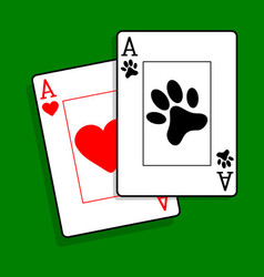 Ace of paws playing cards vector image vector image