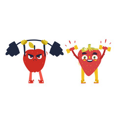 apple strawberry characters working out in gym vector image vector image