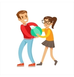 Boy And Girl Fist Fight Positions Aggressive vector image vector image
