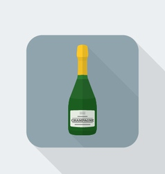 flat style champagne bottle icon with shadow vector image vector image