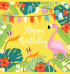 happy birthday greeting card invitation with hand vector image