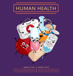 Human health poster with medical characters vector