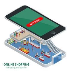 isometric online shopping concept smart phone vector image vector image
