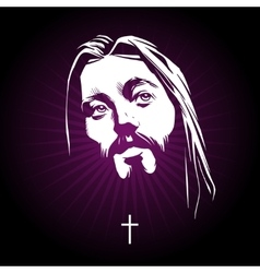 Jesus face portrait vector