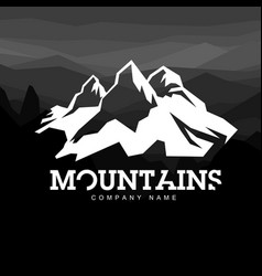 mountain line icon outline logo vector image