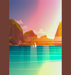 sea landscape beautiful asian beach with mountain vector image vector image