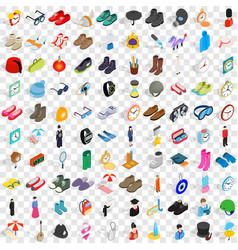 100 accessories icons set isometric 3d style vector
