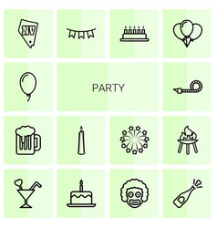 14 party icons vector