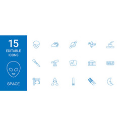 15 space icons vector image