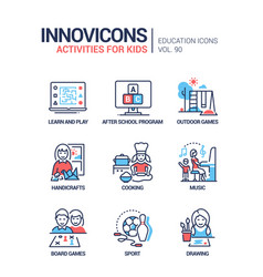 Activities for kids - line design style icons set vector