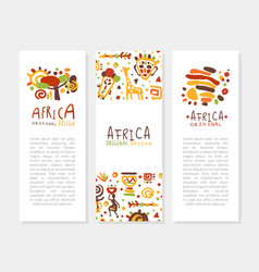 africa banner templates set traditional african vector image