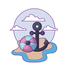 anchor marine with float protection in beach vector image