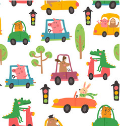 Animal car pattern vector