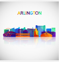 arlington texas skyline silhouette in colorful vector image