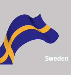 background with sweden wavy flag vector image