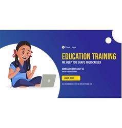 Banner design of education training vector