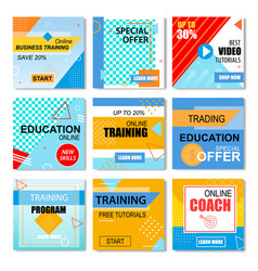 Best offers education online learning stories set vector
