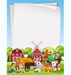 Blank paper template with animal farm set theme vector