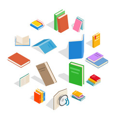 book icons set isometric 3d style vector image