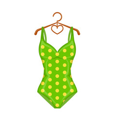 Bright green swimsuit with yellow flowers clothes vector