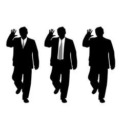 businessman stop gesture or waving hand saluting vector image