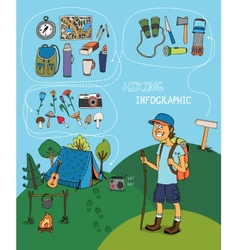 Cartoon hiker with hiking infographic elements vector