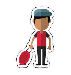 cartoon man tourist travel suitcase vector image